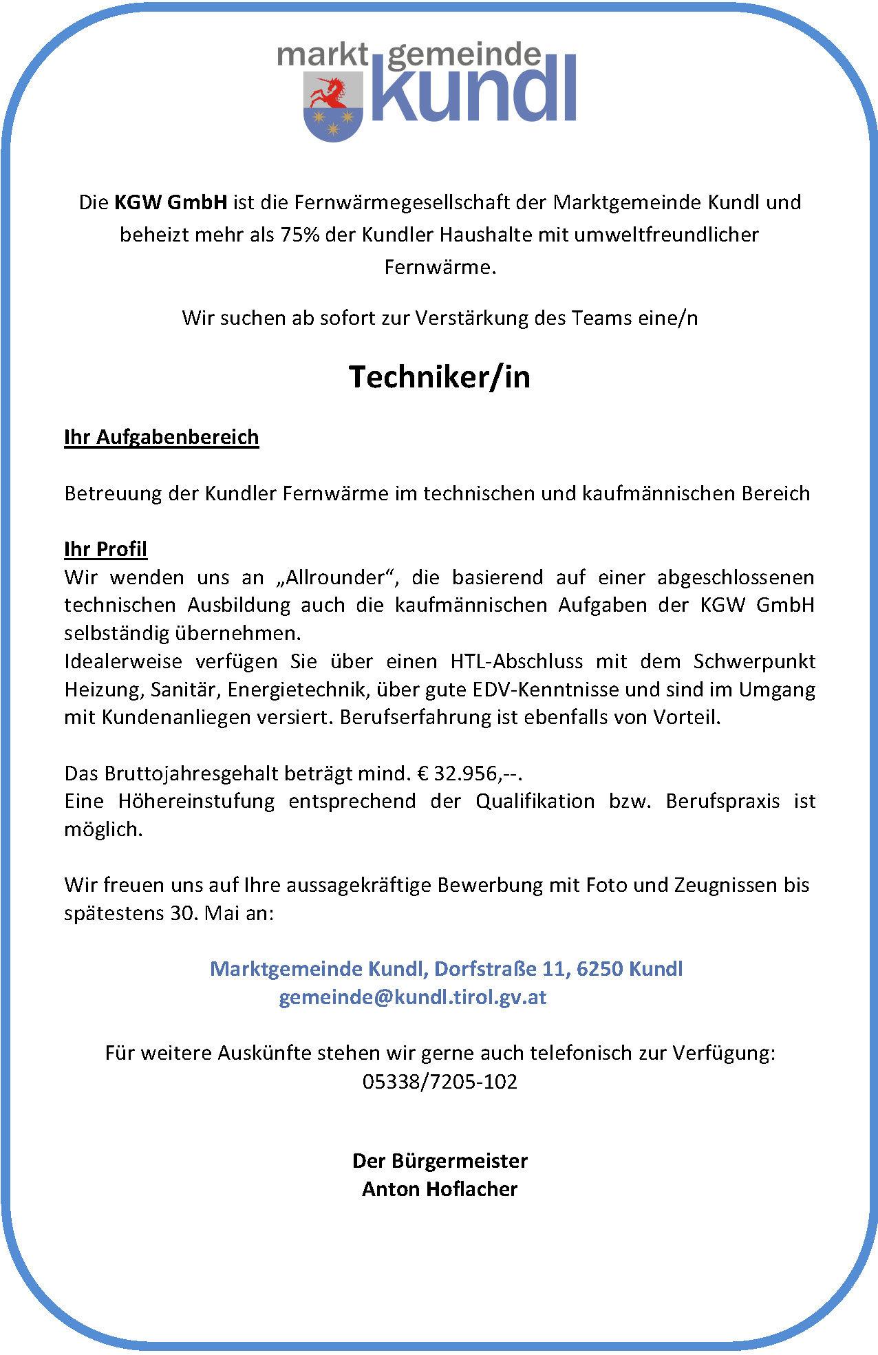 Ausschreibung Techniker KGW GmbH